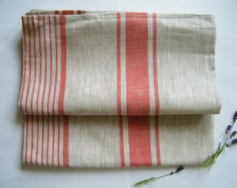 Wholesale: 14 Natural Linen Bath Towels / Sheets for SPA, Sauna, Beach Towel, Blanket  - Red Stripes - Pure Flax Bathroom Linens