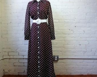 Polka Dot Maxi Dress 1970s Vintage Brown Sheer Gauze White Dots Shirt Dress MEDIUM Formal Work Casual Long Sleeve Shirtdress Melissa Lane