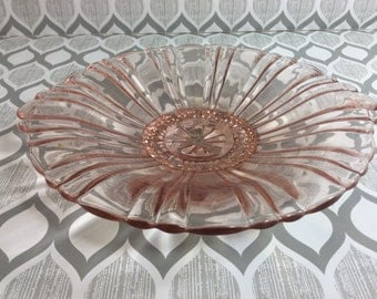 Pink Peach Vintage Glassware Dish