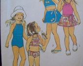 Vintage Girl's Bathing Suit, Bikini, and Wrap Skirt Pattern Simplicity 6422  Size 4