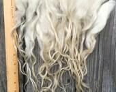 White/Cream Icelandic Locks, Washed, Natural, Undyed, Extra Long, Tailspinning, Spin, Felt, Doll Hair, Fleece, Wool