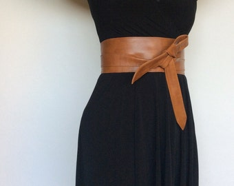 Wide Wrap Brown Leather Obi Belt - Fashion Women Belts - Tie Urban Belts - Wraparounds Sash Belts - Stylish Belt