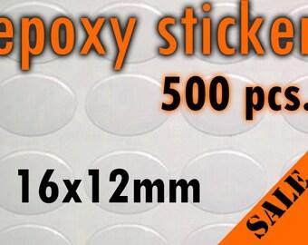 500pcs. 12x16mm Oval Epoxy Stickers