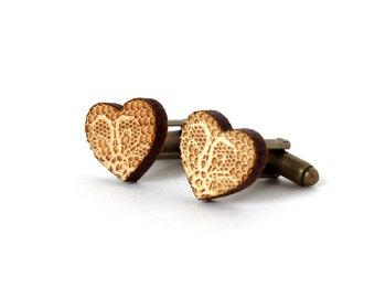 Lace - heart cufflinks - wooden Lace - heart jewellery - lasercut - accessory for men