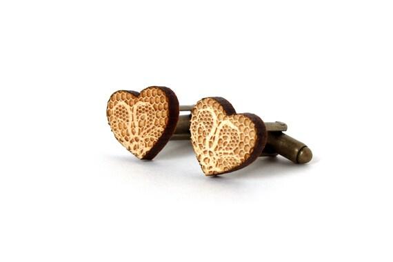 Heart cufflinks with lace pattern - wooden cuffs - lasercut maple wood - romantic accessory - wedding jewelry - groom gift - dad - bestman
