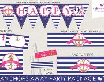 Anchors Away Nautical Pool Party Package // Personalized // Printable DIY