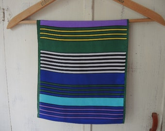 Vintage scarf striped blue green purple  10 x 52 inches