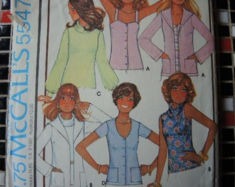 vintage 1970s McCalls sewing pattern 5547 misses cardigan and set of tops size 10