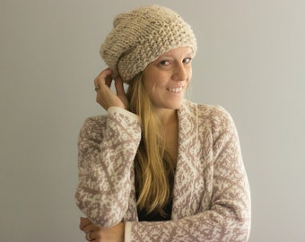 Slouchy Hat with Textured Knit Brim