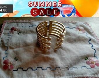 SALE 60% Off Vintage faux pearl cuff bracelet
