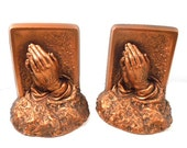 Praying Hands Bookends, Bronze Color, Prayer of Victor, Creative Arts Inc, Collectable Gift for man Gift for woman, Vintage