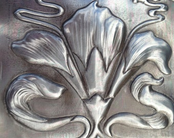 Lily Embossed Pewter Picture