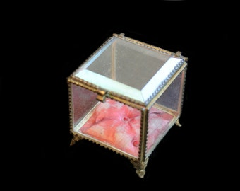 Lovely Antique French Ormolu Beveled Glass Box for Display, Jewelry