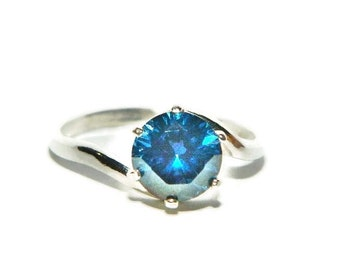 Blue Diamond Ring, 8mm Blue Stone, Sterling Silver