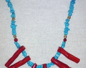 Turquiose Chips and Red Coral Necklace