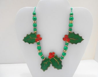 Vintage Christmas Holly Necklace (4983BP)