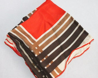 Vintage Echo Scarf - Bold Orange Brown Graphic 1970's Color Palette Square Shape