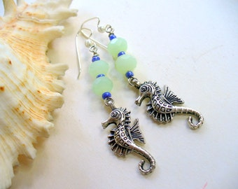 Silver Seahorse Earrings, Glass Jade and Blue Earrings, Beach Earrings, Summer Earrings, Beach Jewelry, Ocean Jewelry, DLAbeaddesign