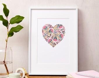 Martha Floral Heart Love Print