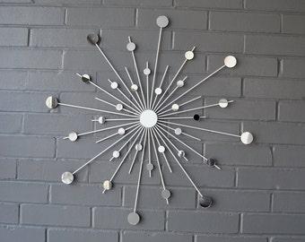"24 Inch Metal Starburst Wall Art Sun Mirror Atomic Modern Sunburst Fun Eclectic Trendy Retro Style Mid Century Eames 24"""
