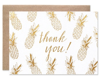 Thank You Gold Foil Pineapples