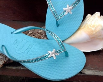 Custom Crystal Havaianas Slim flip flops 39/40 US 9/10 w/ Swarovski Bling Silver Starfish Ice Blue Turquoise Aqua Beach Wedding Sandal Shoes