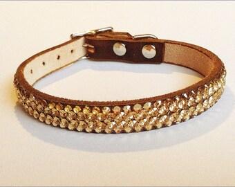 "Custom Leather Pet Collar 10-12"" Super Bling Gold Ore Exclusive custom 3D Iced w/ Swarovski Crystal Rhinestones Cat Dog or Breakaway Safety"