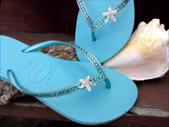 Custom Crystal Havaianas Slim flip flops 39/40 US 9/10 w/ Swarovski Bling Silver Starfish Ice Blue Turquoise Aqua Beach Wedding Sandal Shoes