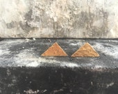 18k gold plated triangle stud earrings