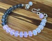Serenity & Rose Quartz sterling silver bracelet