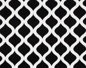 Black White Chenille Upholstery Fabric - Geometric Textured Black Fabric for Furniture - Modern Ogee Design Chenille Pillow Covers