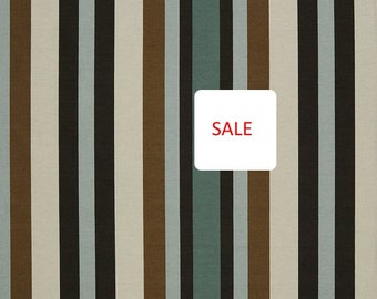 ON SALE - Mint Green Stripe Upholstery Fabric - Taupe Ivory Cotton Material - Green Stripe Roman Shade - Cotton Upholstery for Furniture