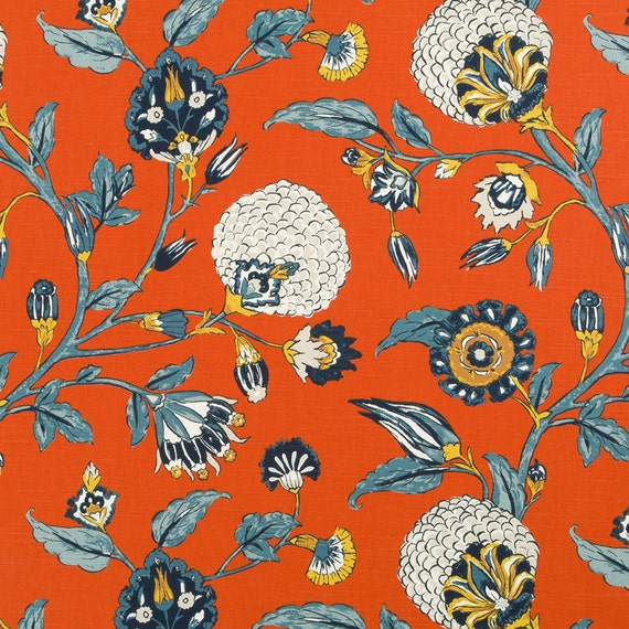 Navy Orange Floral Upholstery Drapery Fabric Orange Navy