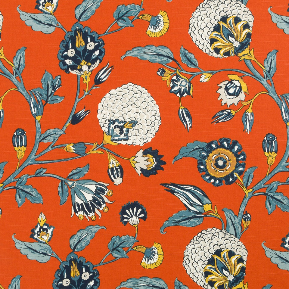 navy orange floral upholstery drapery fabric orange navy. Black Bedroom Furniture Sets. Home Design Ideas