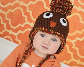 Turkey Baby Hat 0 to 3 Month Baby Thanksgiving Hat Thanksgiving Baby Hat Baby Turkey Hat Pom Pom Hat Fall Baby Hat Thanksgiving Photo Prop