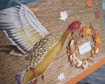 Thanksgiving Duck Carrying Autumn Wreath w/ Falling Leaves, Fabric Welcome Fall Blank Note Card, 5 x 7, Eco-Friendly Bamboo Card Stock, OOAK