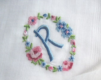"Something Borrowed Something Blue, Embroidered ""R"" Vintage Hankie with Floral Wreath Design, Monogrammed Handkerchief, Shabby Chic, 12"" sq."