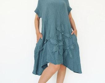 NO.200 Aqua Double Cotton Gauze Floral Appliqué Tunic Dress,  Short Sleeves Tunic, Women's Dress