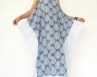 NO.203 Blue, Gray and White Cotton Racerback Sleeveless Dress, Printed Cotton Maxi Dress, White Panel Maxi Dress