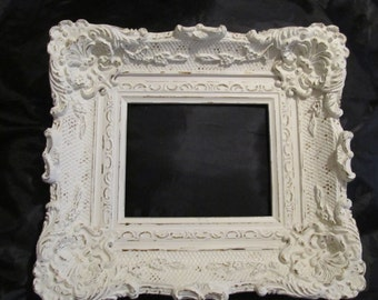 "Large White Ornate WALL FRAME~Shabby Chic Patina~Resin Material~8""x10"" Opening~Shabby Chic~Cottage Chic~Romantic Home Decor!"