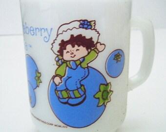 1980 Huckleberry Pie Friend of Strawberry Shortcake Anchor Hocking American Greetings Milk Glass Mug