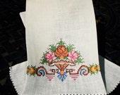 Petit Pointe Embroidered Gurest Towel or Tea Towel, Linen Petit Pointe towel, 1950 kitchen decor, gift, home decor, high end