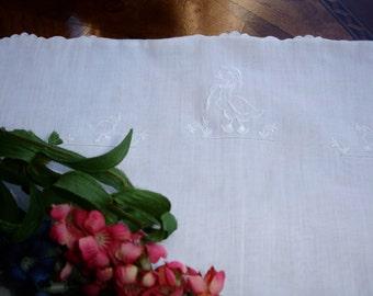 Baby Linen Pillow cover, embroidered linen, 1920s linen, button back, crib linens, small pillowcover, white linen, baby shower