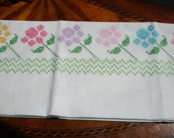 Pillowcase, Single case,  Cross Stitched, Floral, Pastels, hand made, Single case, Twin bedding, Guest bedding, girls room, pillow slip