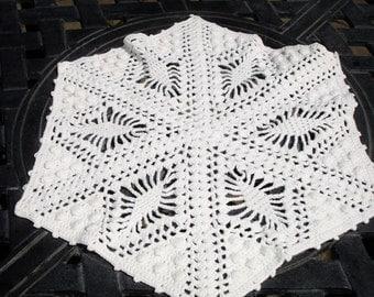 "Doily hand crocheted, popcorn stitching, white doily, 1950s decor, hand made, cottage chic decor, 10x11"""