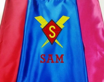 Superhero cape  Kid's  Cape Custom Embroidered Diamond, Lightning Bolts  Personalized With Name And Initial