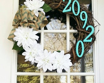 Personalized House Number Wreath   Custom Grapevine Wreath   Year Round Wreath