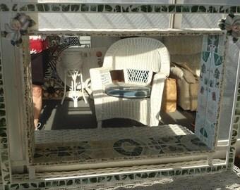 Mosaic Piece Made Shadowbox Mirror