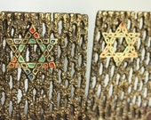 Vintage Brass Bookends Colorful Star of David Israel Brass and enamel ,Mid Century 1950s Brutalist Brass Book ends