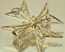 Vintage/ antique 1950s continental silver filigree, Maltese cross, brooch pin / pendant - jewelry jewellery
